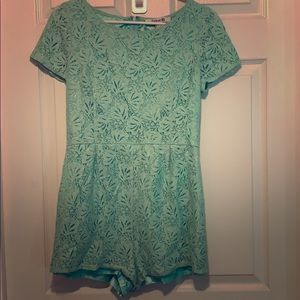 Lined mint green lace romper